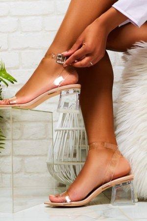 Afternoon Perspex Block Mid Heels in Nude Patent - US 9