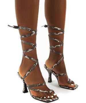 Cinnamon Snake Square Toe Ankle Tie Heels - US 8
