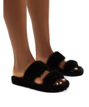 Teddi Black Fluffy Double Strap Slider Faux Fur Slipper - US 6