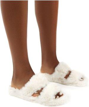 Teddi White Fluffy Double Strap Slider Faux Fur Slipper - US 7