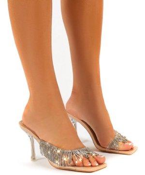 Shimmer Nude Diamante Tassel Square Toe Perspex Mules Sandals Heels - US 8