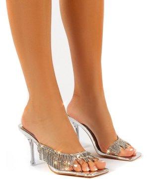 Shimmer Silver Diamante Tassel Square Toe Perspex Mules Sandals Heels - US 7