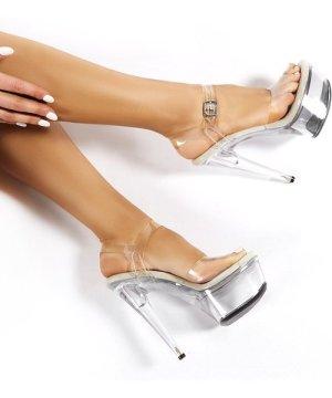 Teaser Clear Perspex Platform Stiletto Heels - US 7