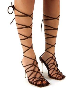 Rulebreaker Choc Lace Up Stiletto High Heels - US 6