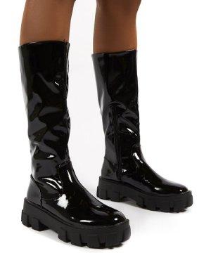 Karma Black Chunky Sole Knee High Boots - US 8
