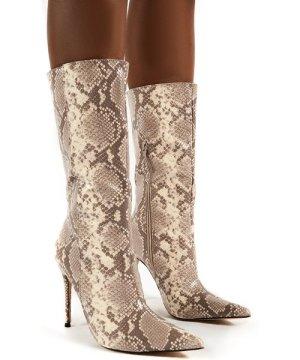 Mystic Beige Snake Knee High Stiletto Heel Boots - US 10