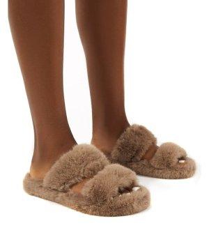 Teddi Tan Fluffy Double Strap Slider Faux Fur Slipper - US 8