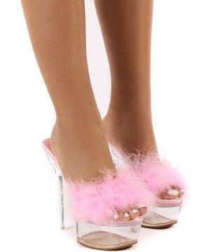 Behaviour Pink Perspex Platform Feather Stiletto Heels - US 7