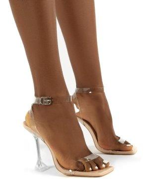 Yasmyn Nude Patent Perspex Clear Strap Heels - US 10