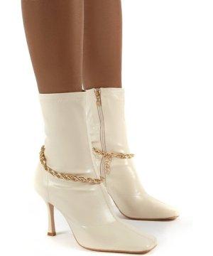 Sacci Bone Chain Detail Square Toe Stiletto Heel Ankle Boots - US 5