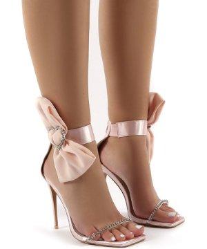 Moda Nude Square Toe Heart Diamante Stiletto Heels - US 9