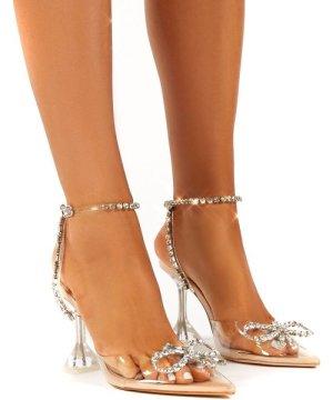 Cinderella Nude Perspex Diamante Bow Heels - US 7