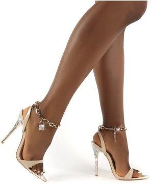Triumphant Nude Diamante Lock Chain Anklet Stiletto Heels - US 7