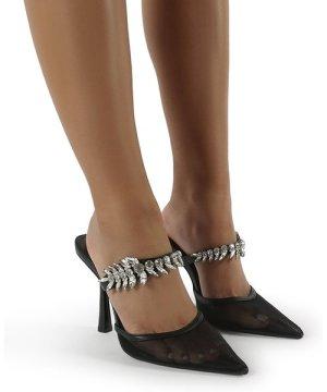 Girlfriend Black PU Jewel Trim Point Toe Heeled Mules - US 9