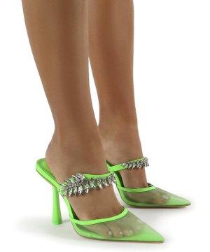 Girlfriend Green PU Jewel Trim Point Toe Heeled Mules - US 10
