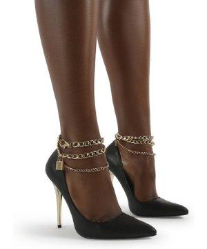 Luv Black Pu Lock Chain Anklet Stiletto Court Heel - US 9