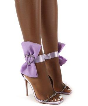 Moda Lilac Square Toe Heart Diamante Stiletto Heels - US 6