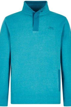 Weird Fish Folk Button Neck Sweatshirt Pagoda Blue Size XL