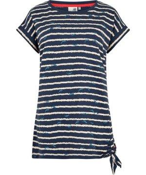 Weird Fish Molly Embroidered Striped T-Shirt Dark Navy Size 12
