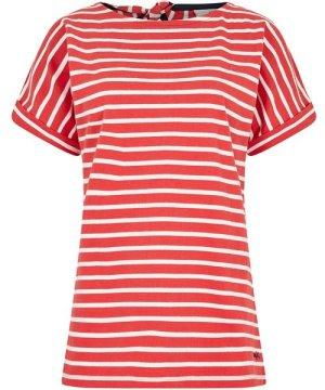 Weird Fish Esha Striped Jersey T-Shirt Radical Red Size 22