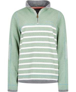 Weird Fish Lono 1/4 Zip Striped Pique Sweatshirt Silver Sage Size 20