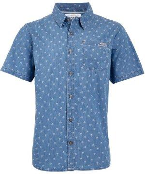 Weird Fish Salterton Short Sleeve Denim Jacquard Shirt Denim Size XL