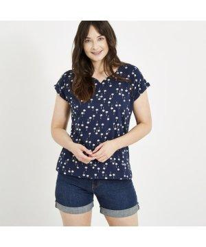 Weird Fish Sana Printed Jersey T-Shirt Maritime Blue Size 12