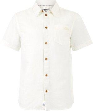 Weird Fish Westray Linen Shirt Marshmallow Size 3XL