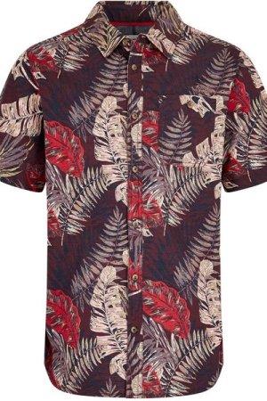 Weird Fish Dashbeck Short Sleeve Hawaiian Print Shirt Plum Size M