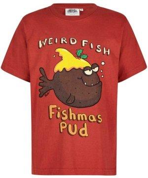 Weird Fish Fishmas Pud Boy's Artist T-Shirt Ketchup Red Size 11-12