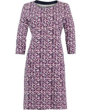 Weird Fish Starshine Patterned Jersey Dress Magenta Size 8