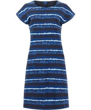 Weird Fish Tallahassee Printed Jersey Dress Indigo Size 18
