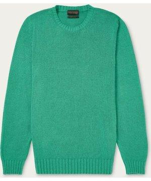 Green Silk Crew Neck Sweater