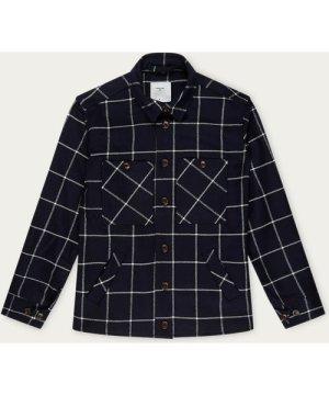 Navy Windowpane Flannel Workshirt