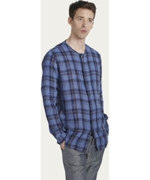 Blue Check Collarless Shirt