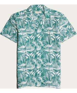 Bottle Green Salines Print Selleck S/S Shirt
