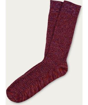Red Mix Fine Rib Knit Cotton Socks