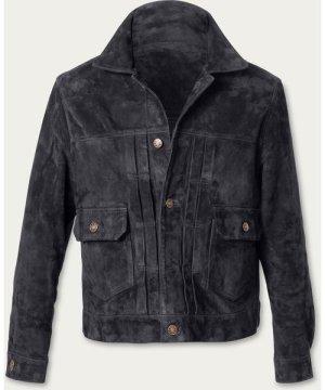 Charcoal Presley Trucker Suede Jacket MTO