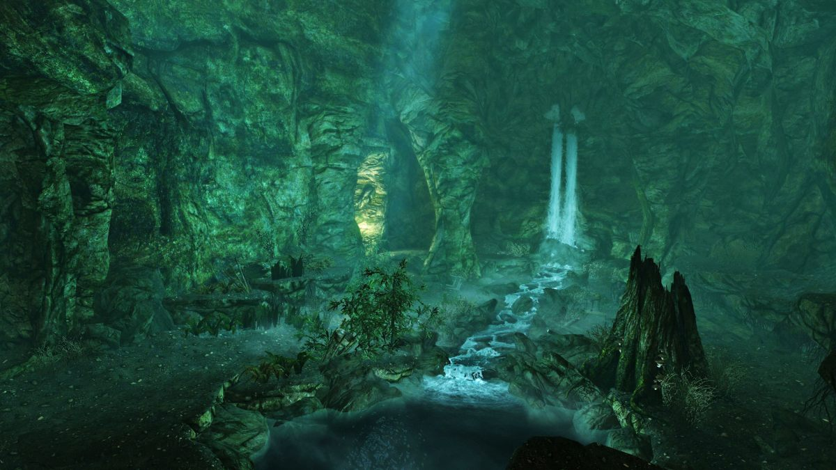 Fall Deer Wallpaper Waterfall Inside Darkshade Copse Postcards From Skyrim