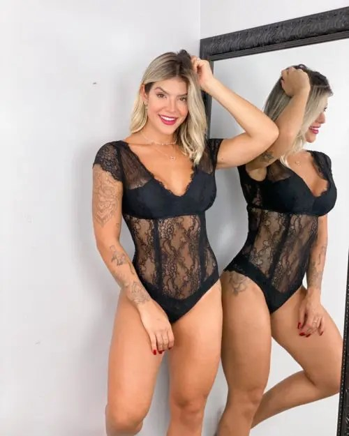 BODY MILA CHANTILLY LACE PRETO