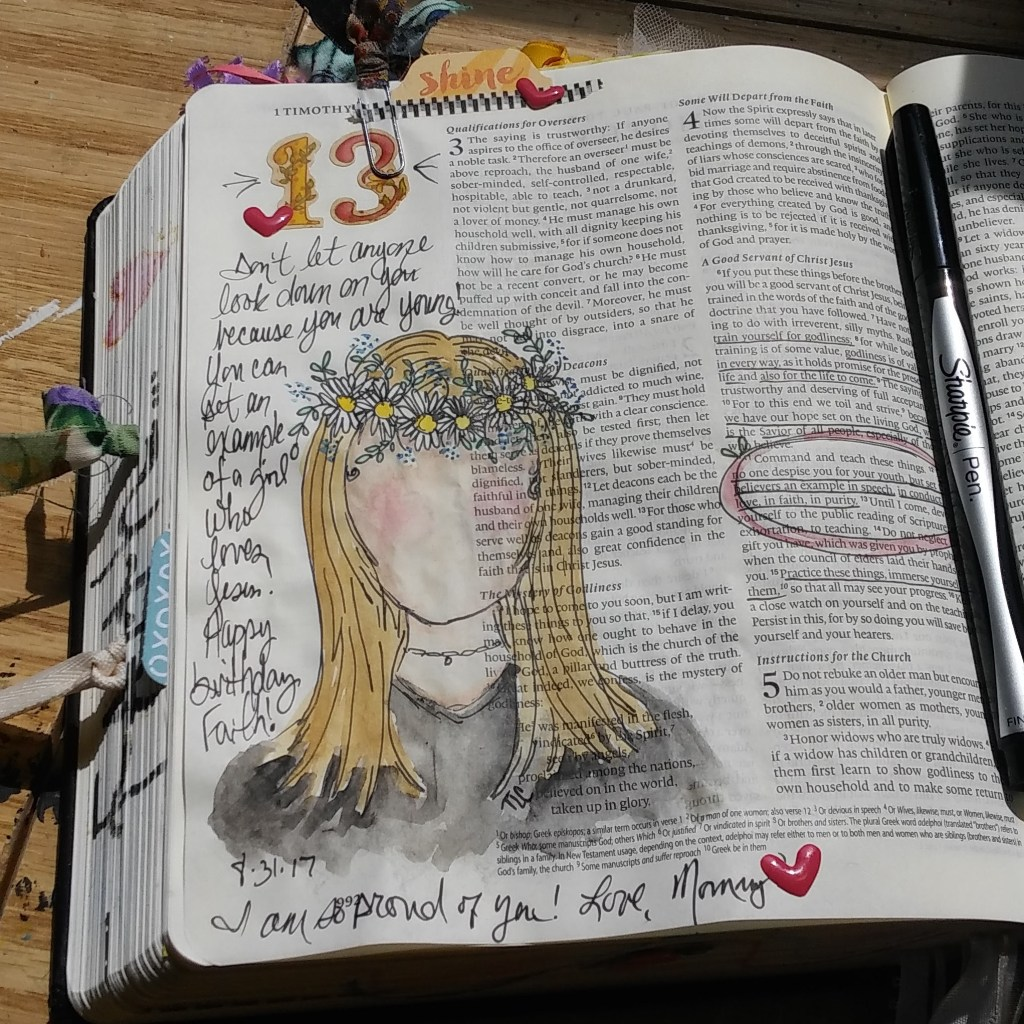 Bible Journaling 13th birthday page