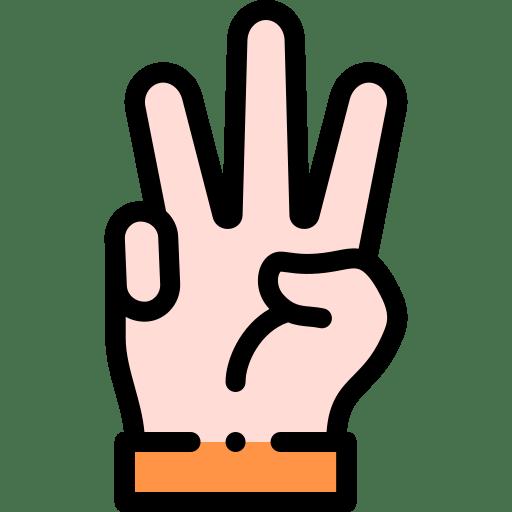 Artwork of a hand raising three fingers