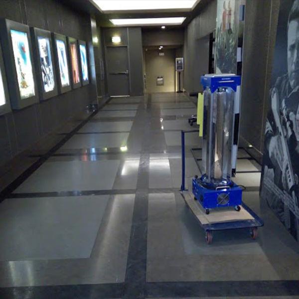Rockwell cinema using Electromex ultraviolet ozone sterilization
