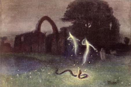 Will-o'-the-wisp and Snake by Hendrich, Hermann