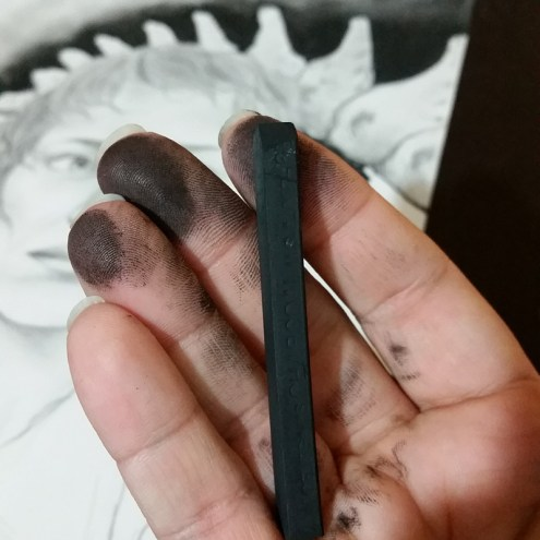 Charcoal is messy