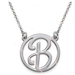 Initial Necklace Round boarder