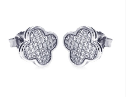 Clover Studs Micro Pave Tessories