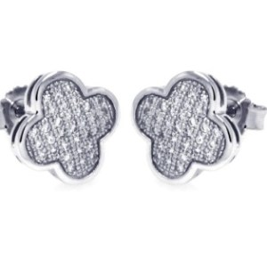 Clover Studs Micro Pave