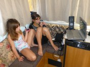 Here are my granddaughter watching a DVD on our laptop