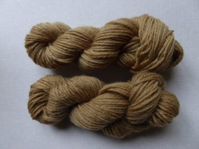 a picture of two skeins the lor of which was mordanted and is a slightly darker richer colour than the top which wasn't